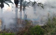 بالصور النيران تشتعل بفعل فاعل للمرة الثانية في نفس اليوم في خرابة بالقرب من إقامة عامل الإقليم